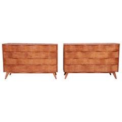 Edmond Spence Swedish Modern Wave Front Dresser Chests, Newly Refinished
