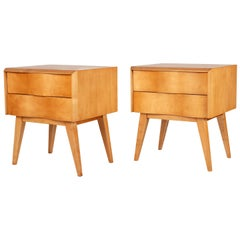 Edmond Spence Wave Front Two-Drawer Nightstands or Side Tables, Sweden 1950s