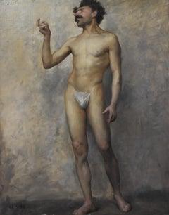 Edmond Suau (1871-1929) Une Académie, Standing man, signed oil on canvas