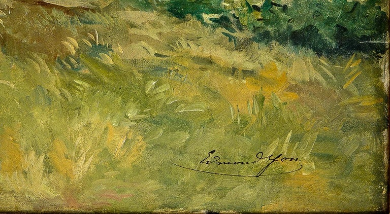 Edmond Yon, a Seated Woman by a River Loing, Oil on Canvas, circa 1880-1890 For Sale 5