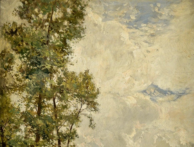 French Edmond Yon, a Seated Woman by a River Loing, Oil on Canvas, circa 1880-1890 For Sale
