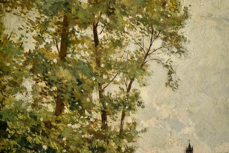 Edmond Yon, a Seated Woman by a River Loing, Oil on Canvas, circa 1880-1890 In Good Condition For Sale In Saint Ouen, FR