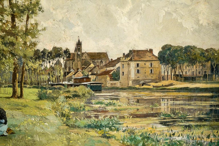Edmond Yon, a Seated Woman by a River Loing, Oil on Canvas, circa 1880-1890 For Sale 2