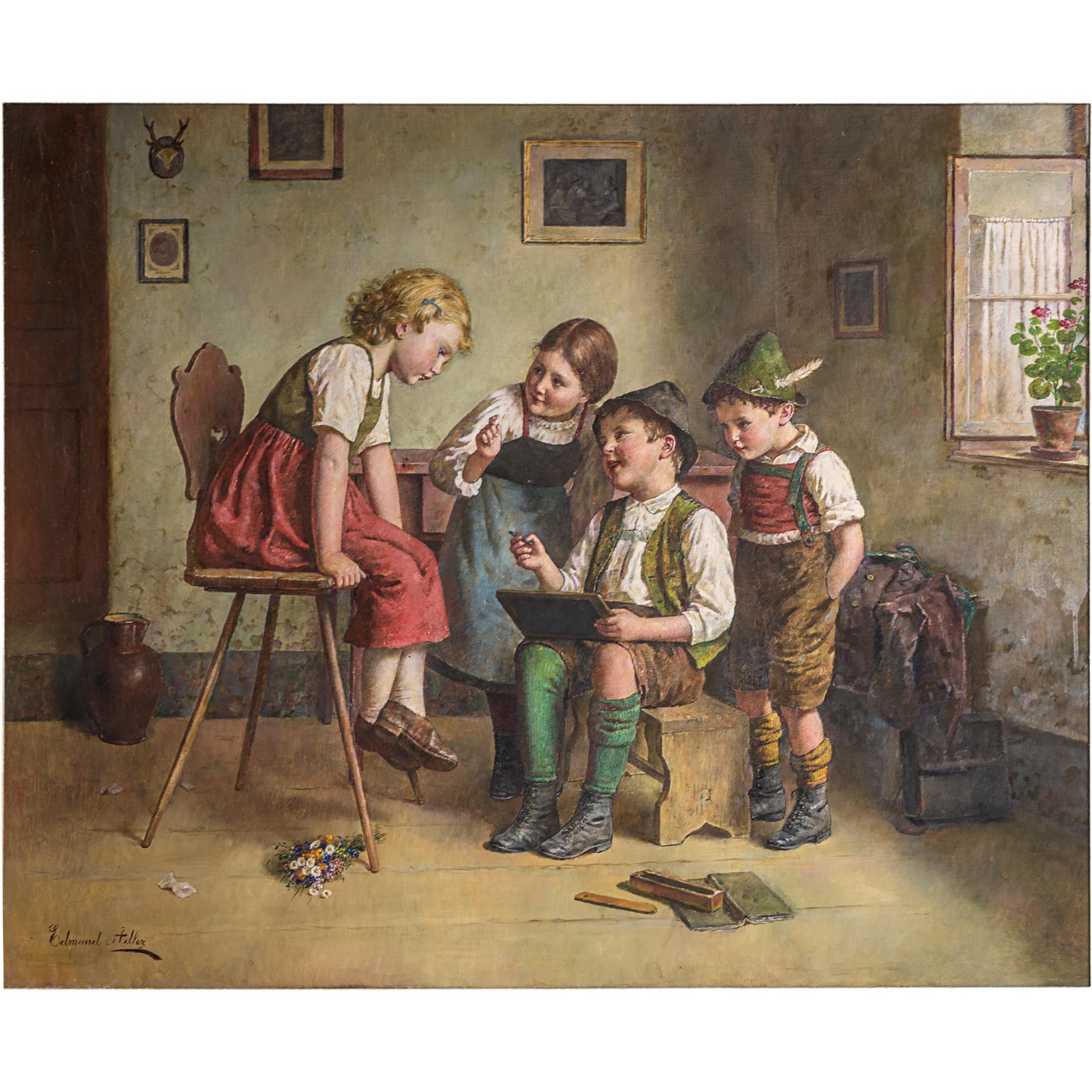 A fine Edmund Adler Painting of Children Gathered in a Parlor