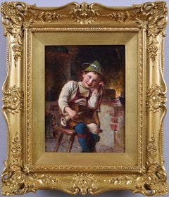 Genre oil painting of young boy