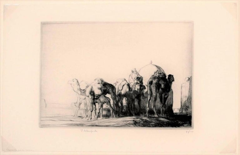 Camels at a Well - Print by Edmund Blampied