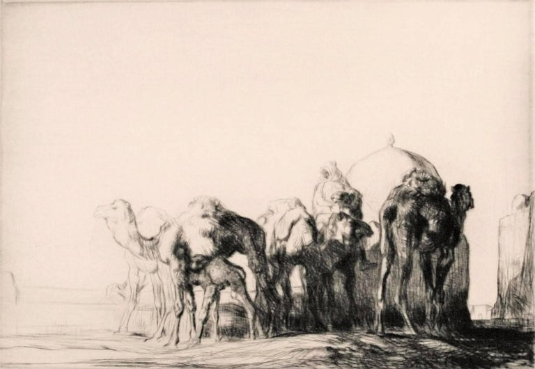 Edmund Blampied Figurative Print - Camels at a Well