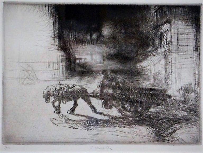 Night Time, Dieppe. - Print by Edmund Blampied