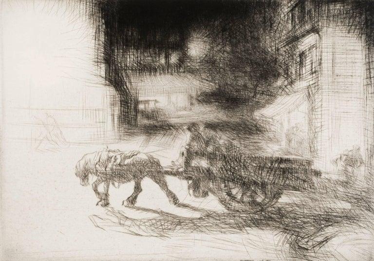 Night Time, Dieppe. - Modern Print by Edmund Blampied
