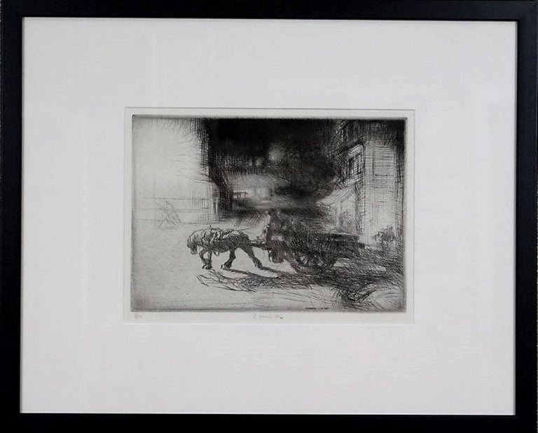 Edmund Blampied Figurative Print - Night Time, Dieppe.