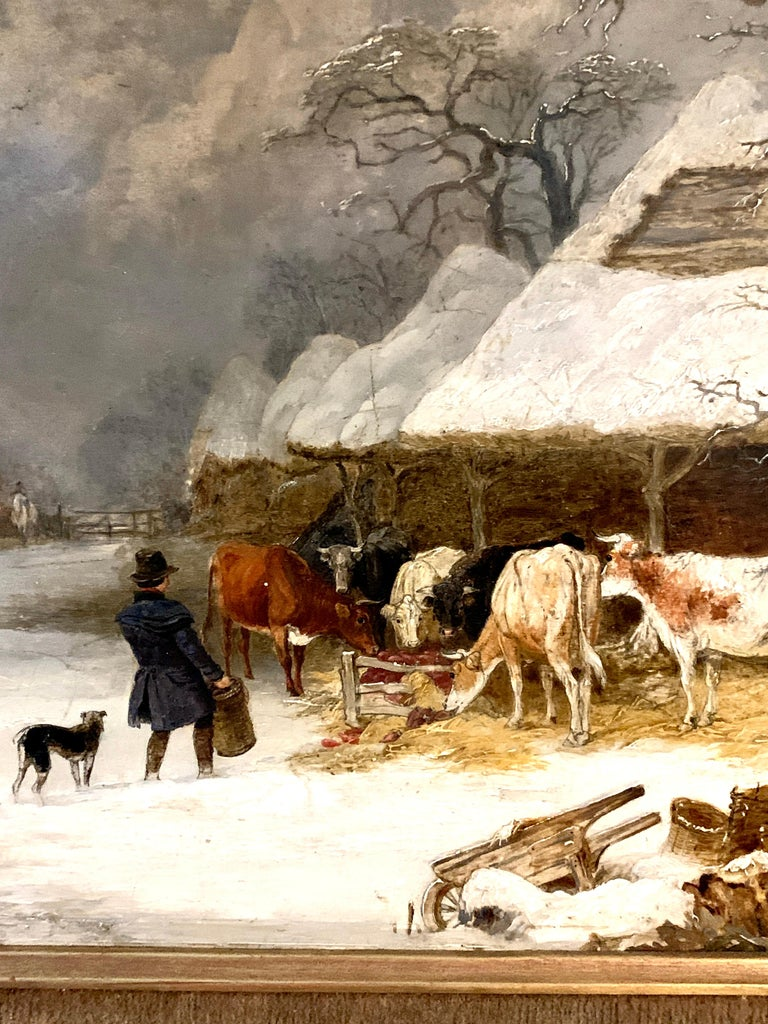 English 19th century landscape in oils of a man feeding the cows in the snow - Painting by Edmund Bristow