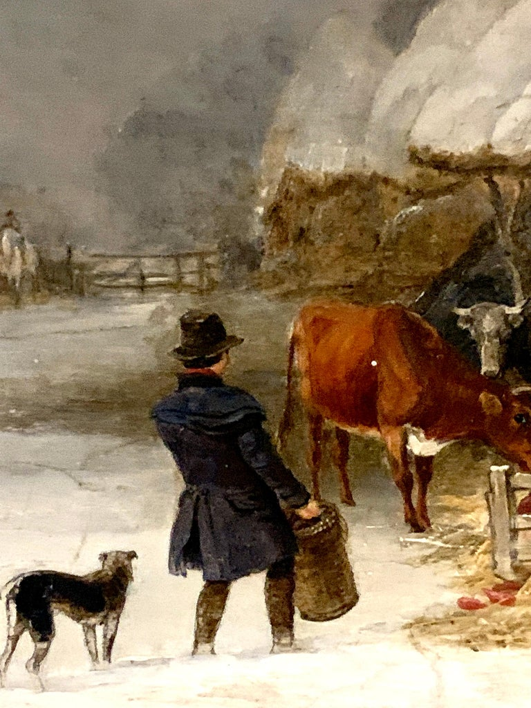 English 19th century landscape in oils of a man feeding the cows in the snow - Victorian Painting by Edmund Bristow