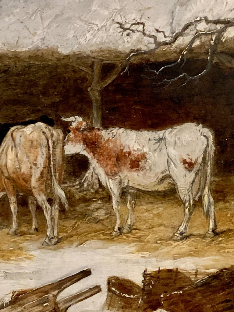 English 19th century landscape in oils of a man feeding the cows in the snow - Brown Landscape Painting by Edmund Bristow