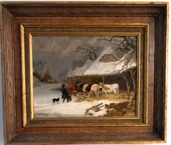 English 19th century landscape in oils of a man feeding the cows in the snow