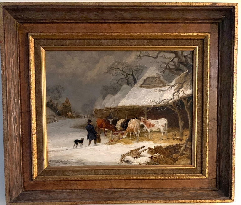 Edmund Bristow Landscape Painting - English 19th century landscape in oils of a man feeding the cows in the snow
