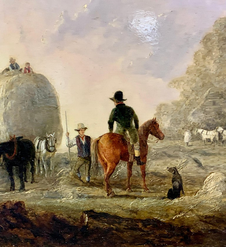 English 19th century landscape, men harvesting, horses, in an English Summer - Painting by Edmund Bristow