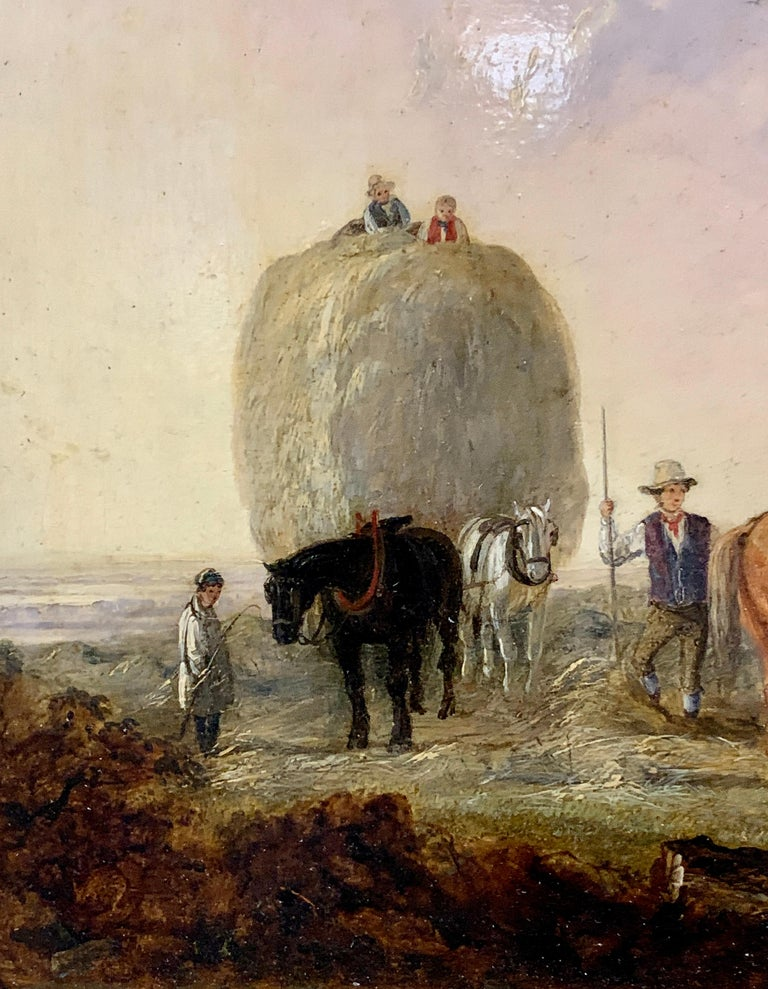 English 19th century landscape, men harvesting, horses, in an English Summer - Victorian Painting by Edmund Bristow