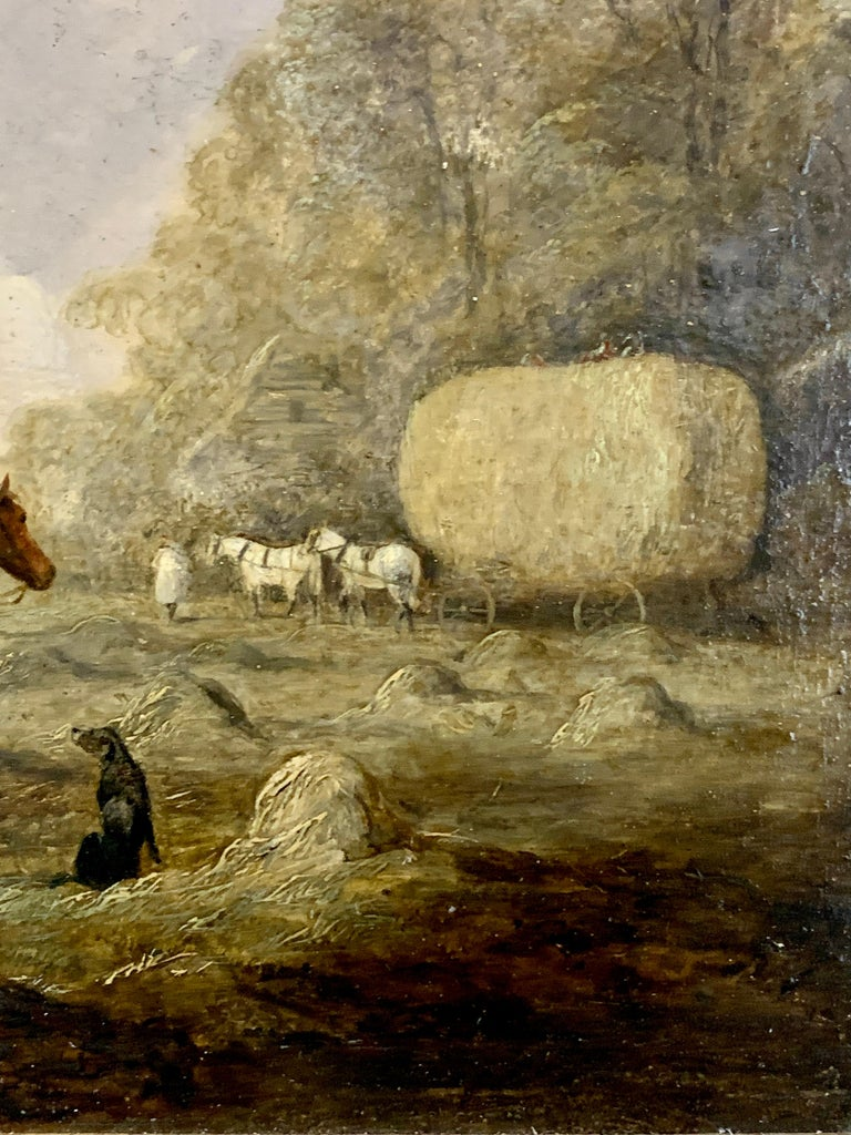 English 19th century landscape, men harvesting, horses, in an English Summer - Gray Figurative Painting by Edmund Bristow