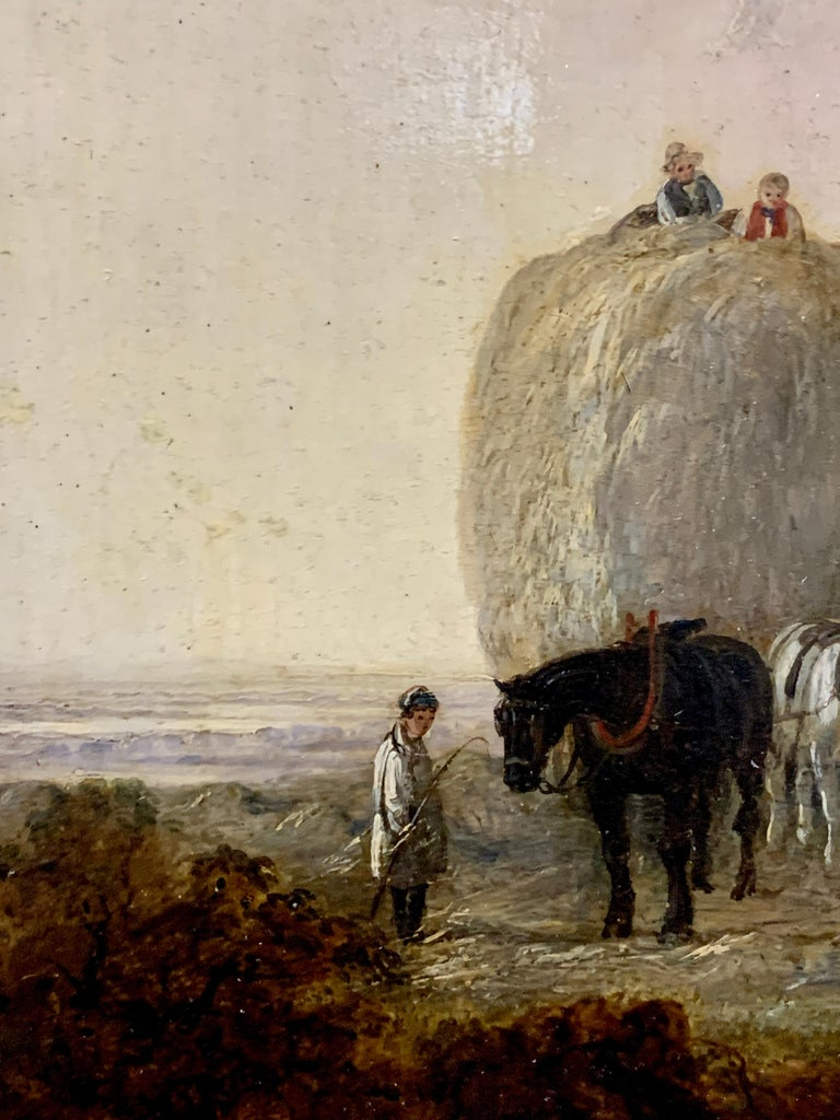 English 19th century landscape, men harvesting, horses, in an English Summer 1