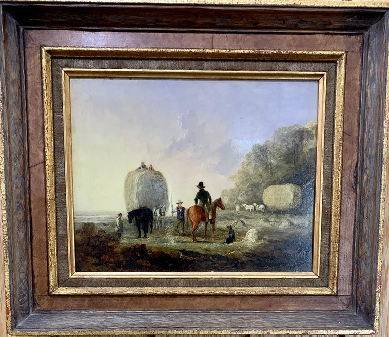 Edmund Bristow Figurative Painting - English 19th century landscape, men harvesting, horses, in an English Summer
