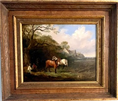 English 19th century landscape in oils of men resting with their work horses