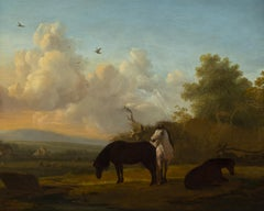 Horses Grazing by a Stream, 19th century.