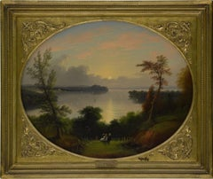"""View of Saratoga Lake,"" Edmund Coates, Hudson River School, New York Landscape"