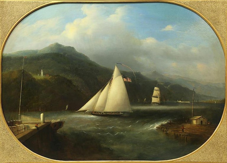 Edmund C. Coates (Born England 1816; worked and died in America, 1871). A good Hudson River School oil on canvas depicting Bartlett lighthouse, Caldwell's landing, with sailing vessels in the foreground, in a gilt frame. An attractive and well
