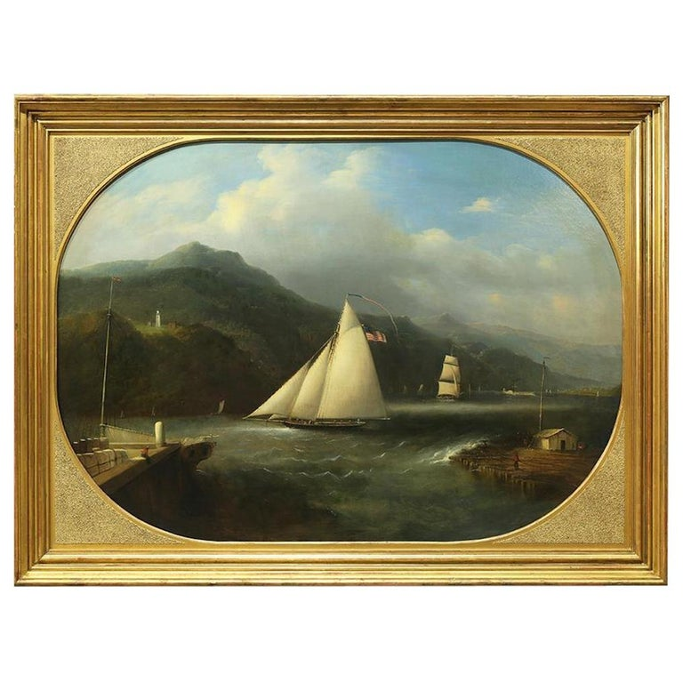 Edmund C. Coates, Oil on Canvas of Bartlett Lighthouse, Caldwell's Landing, 1867 For Sale