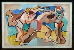 """AT THE BEACH"" 1934 MODERN MASTERPIECE WACO TEXAS BAYLOR UNIVERSITY CHAIRMAN"