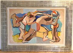 """AT THE BEACH"" 1934 MODERN MASTERPIECE WACO TEXAS BAYLOR UNIVERSITY CHAIRMAN"