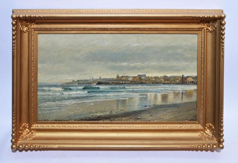 Antique Beach Seascape Oil Painting,  Newport Rhode Island by Edmund Darch Lewis 1