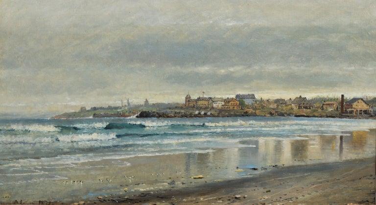 Antique Beach Seascape Oil Painting,  Newport Rhode Island by Edmund Darch Lewis 2