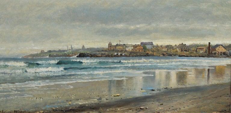 Antique Beach Seascape Oil Painting,  Newport Rhode Island by Edmund Darch Lewis 3