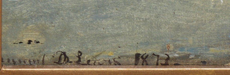 Antique Beach Seascape Oil Painting,  Newport Rhode Island by Edmund Darch Lewis 4
