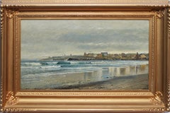 Antique Beach Seascape Oil Painting,  Newport Rhode Island by Edmund Darch Lewis