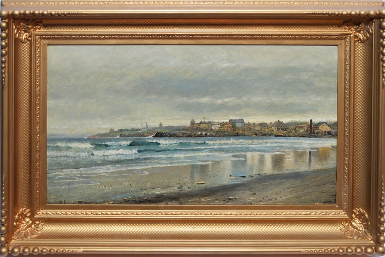 """Impressionist view of Newport Harbor by Edmund Darch Lewis  (1835 - 1910).  Oil on canvas, circa 1873.  Signed.  Displayed in a period giltwood frame.  Image, 20""""L x 12""""H, overall 25""""L x 17""""H."""