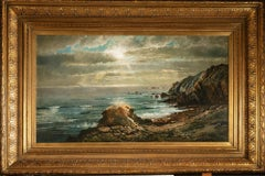 Sunlight Through the Clouds Over a Rocky Coast
