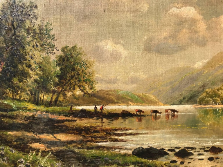 """""""Watering the Cattle"""" - Brown Landscape Painting by Edmund Darch Lewis"""