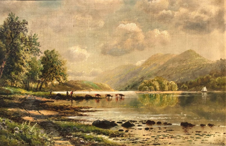 """Edmund Darch Lewis Landscape Painting - """"Watering the Cattle"""""""