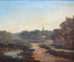 English Country Landscape, Victorian Oil Painting