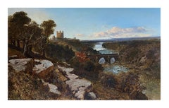 19th Century Oil Painting Landscape of Richmond Yorkshire England