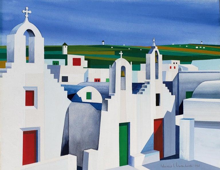 Edmund Lewandowski Abstract Painting - Mykonos Church Landscape