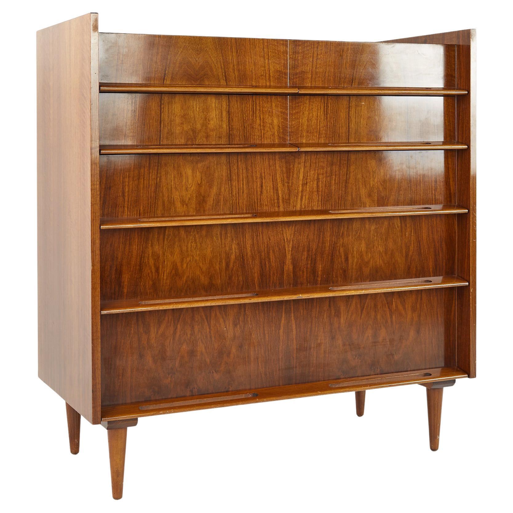 Edmund Spence Coronation Mid Century Walnut Highboy Dresser