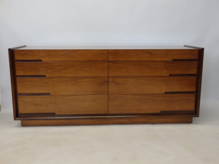 Walnut Edmund Spence Long Low Swedish Double Dresser with graduated drawers For Sale