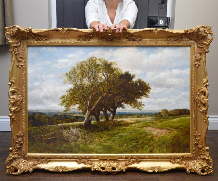 On the South Downs - Large 19th Century English Landscape Oil Painting - Brown Landscape Painting by Edmund Wimperis
