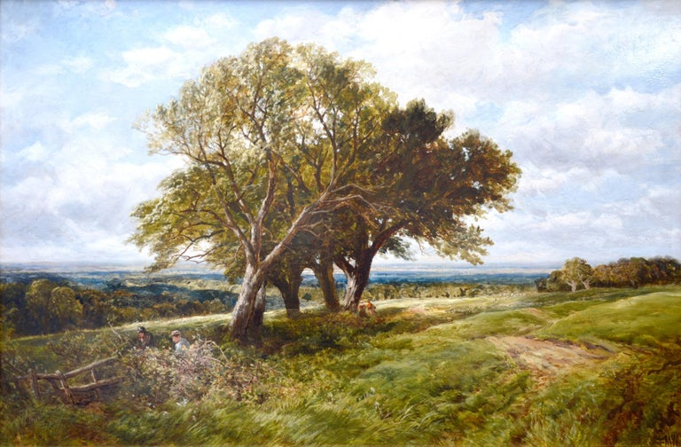 'On the South Downs' by Edmund Morison Wimperis (1835-1900).  A very large fine 19th century landscape oil on canvas by the eminent Victorian landscape painter Edmund Morison Wimperis. The painting is signed by the artist and hangs in a superb newly