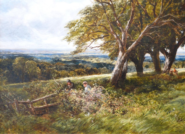 On the South Downs - Large 19th Century English Landscape Oil Painting For Sale 1