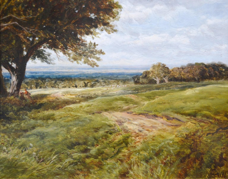 On the South Downs - Large 19th Century English Landscape Oil Painting For Sale 2