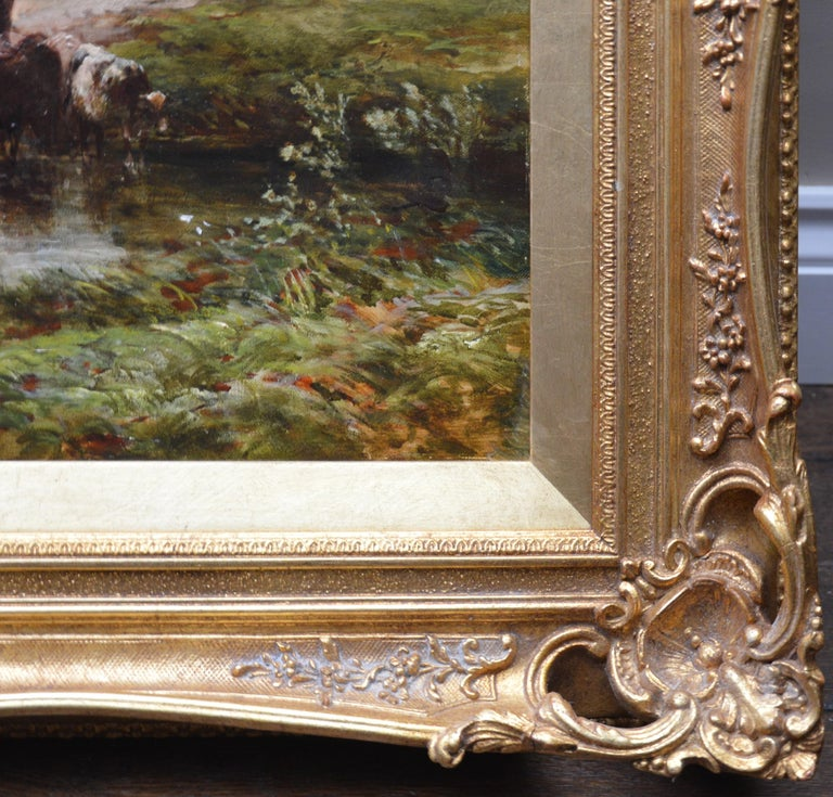 Crossing the Stour - Large 19th Century English Landscape Oil Painting   9